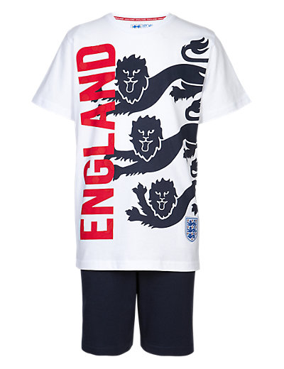 England FA Pure Cotton 3 Lions Pyjama Shorts Set Clothing