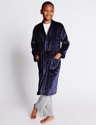 Anti Bobble Waist Tie Dressing Gown (6-16 Years), NAVY, catlanding