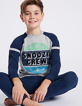 Snooze Crew Print Pyjamas (3-16 Years), NAVY MIX, catlanding