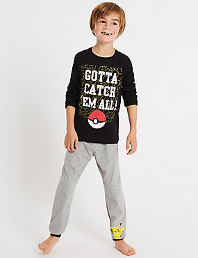 Pure Cotton Pokemon Pyjamas (5-14 Years), BLACK MIX, catlanding