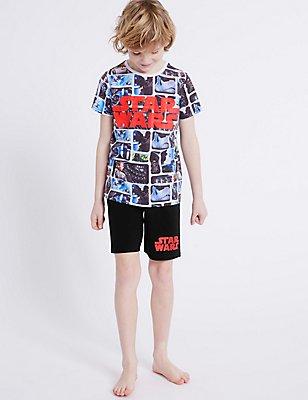 Cotton Rich Star Wars™ Short Pyjamas (4-16 Years), GREY MIX, catlanding