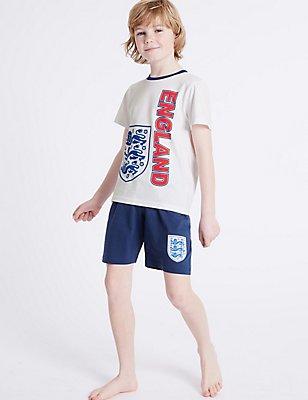 Korte pyjama van puur katoen met England-motief (3-16 jaar), WIT MIX, catlanding