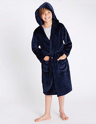 Robe de chambre à capuche (du 1 au 16ans), BLEU MARINE ASSORTI, catlanding