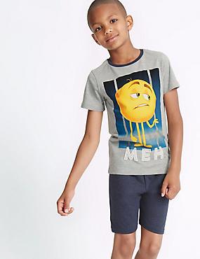 Katoenrijke korte pyjama met emojiprint (7-16 jaar), GRIJS MIX, catlanding