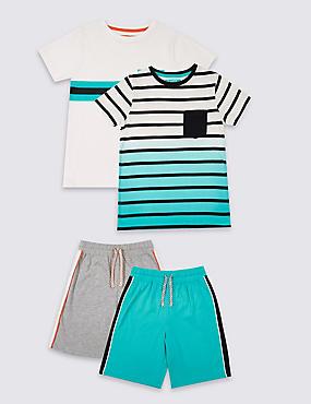 Pack de 2 pijamas cortos 100% algodón (3-16años), MULTICOLOR, catlanding