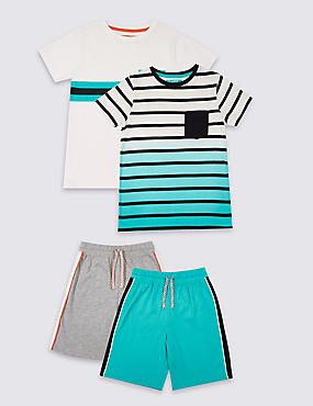 2 Pack Pure Cotton Short Pyjamas (3-16 Years), MULTI, catlanding