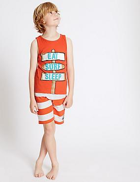 2 Pack Short Pyjamas (3-16 Years), ORANGE MIX, catlanding