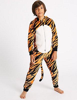 Pijama de una pieza con capucha de tigre (1-16años), MEZCLA DE TONOS NARANJAS, catlanding