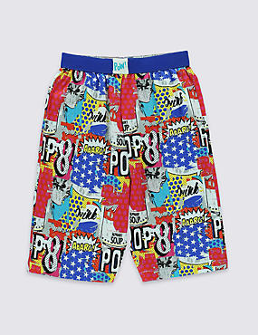 Pure Cotton Stay Soft Graphic Print Pyjama Shorts (6-16 Years)