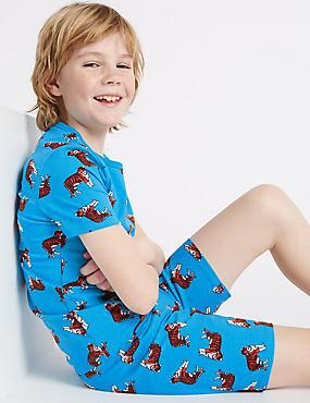 Kurzer Schlafanzug mit Tigerdesign (1–16 Jahre), BLAU MELANGE, catlanding