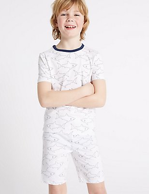 Cotton Printed Short Pyjamas with Stretch (1-16 Years), WHITE MIX, catlanding