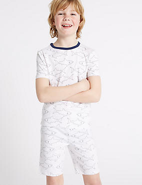 Shark Print Short Pyjamas (1-16 Years) , WHITE MIX, catlanding
