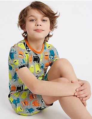 All Over Print Short Pyjamas (1-16 Years), GREY MIX, catlanding