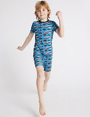 Cotton Printed Short Pyjamas with Stretch (1-16 Years), BLUE MIX, catlanding