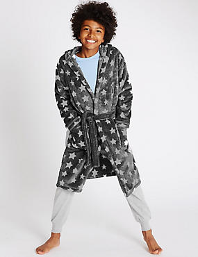 Star Print Dressing Gown (1-16 Years), GREY MIX, catlanding