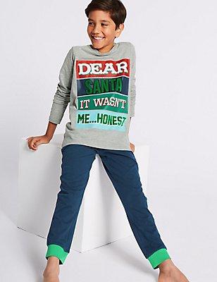 Dear Santa Pyjamas (3-16 Years), GREY MIX, catlanding