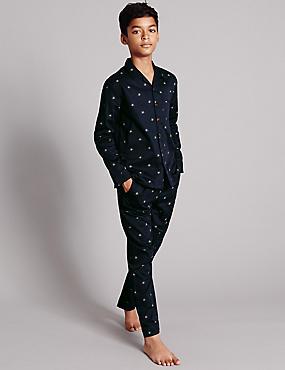 Pyjama à motif étoiles tissées (du 1 au 16ans), NAVY, catlanding