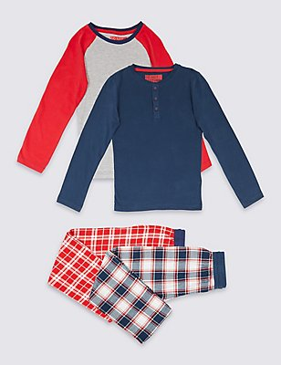 2 Pack Long Sleeve Pyjamas (3-16 Years), NAVY MIX, catlanding