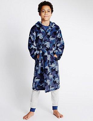 Waist Tie Dressing Gown (1-16 Years), BLUE MIX, catlanding