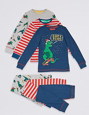 3 Pack Cotton Pyjamas (3-16 Years), NAVY MIX, catlanding