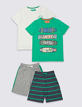 2 Pack Short Pyjamas (3-16 Years), GREEN MIX, catlanding