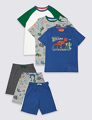 3 Pack Short Sleeve Pyjamas (3-16 Years), MULTI, catlanding