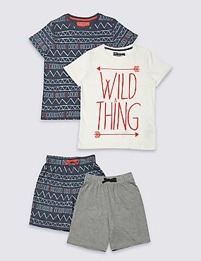 2 Pack Short Sleeve Pyjamas (3-16 Years), MULTI, catlanding