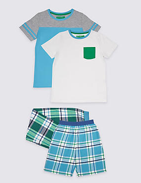2 Pack Pure Cotton Mixed Pyjamas (3-16 Years), BLUE MIX, catlanding