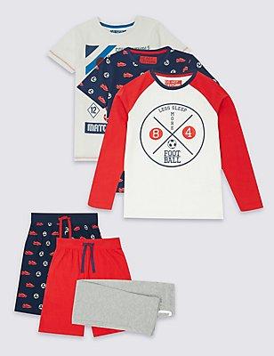 3 Pack Mixed Pyjamas (3-16 Years), MULTI, catlanding