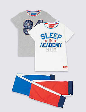 2 Pack Short Sleeve Pyjamas (3-16 Years), RED MIX, catlanding