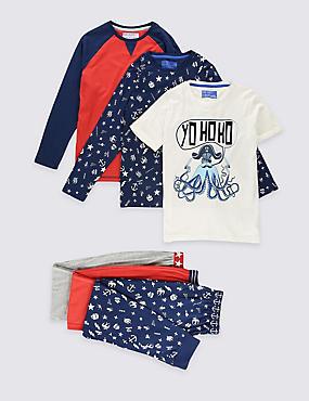 Lot de 3pyjamas 100% coton (du 3 au 16ans), ROUGE ASSORTI, catlanding
