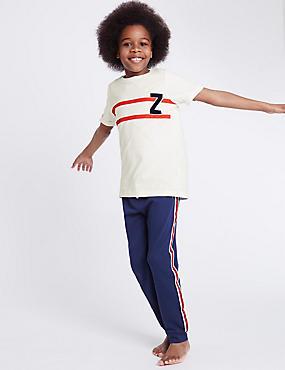 Pyjama 100% coton à motif lettreZ (du 3 au 16ans), BLEU MARINE CHINÉ, catlanding