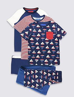 Pack de 3 pijamas 100% algodón (3-16años), MEZCLA DE TONOS AÑIL, catlanding