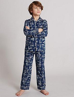 Pure Cotton Boat Print Pyjamas (1-16 Years), NAVY MIX, catlanding