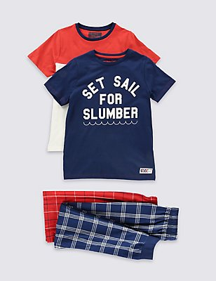 Pure Cotton Pyjamas (3-16 Years), NAVY MIX, catlanding
