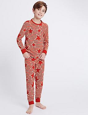 Striped & Star Print Pyjamas (1-16 Years), RED MIX, catlanding