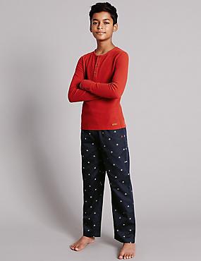 Pure Cotton Fine Waffle Star Pyjamas (1-16 Years), BURGUNDY, catlanding