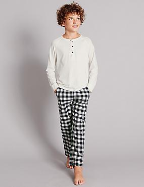 Pyjama à manches longues et carreaux (du 1 au 16ans), NAVY MIX, catlanding