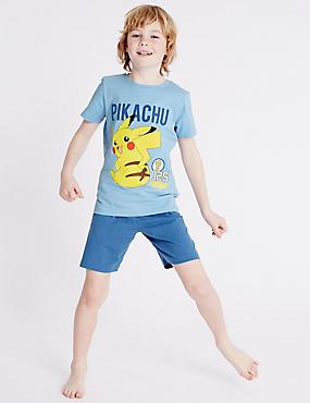 """Kurzer """"Pokemon""""-Schlafanzug (4–16 Jahre), BLAU MELANGE, catlanding"""