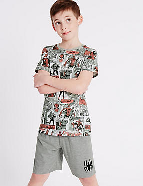 Spider-Man™ Short Pyjamas (6-16 Years), GREY MIX, catlanding