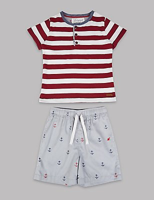 Pure Cotton Striped Pyjamas (1-16 Years), RED MIX, catlanding