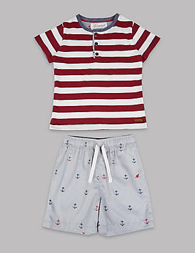 Pure Cotton Striped Pyjamas (1-16 Years), RED MIX, catlanding