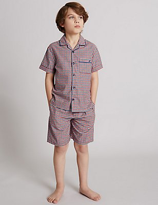 Pure Cotton Short Pyjamas (1-16 Years), RED MIX, catlanding