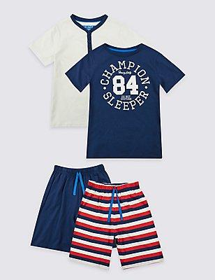Set van 2 korte pyjama's van puur katoen (3-16 jaar), MULTI, catlanding