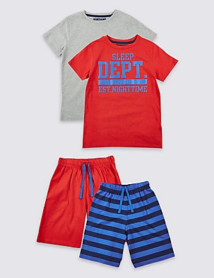 Set van 2 korte pyjama's van puur katoen (3-16 jaar), GEBRANDE SIENNA, catlanding