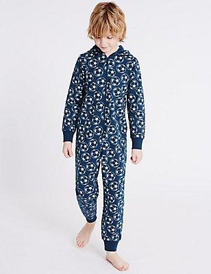 Pijama de una pieza 100% algodón con estampado de fútbol (1-16años), MEZCLA DE TONOS MARINO, catlanding