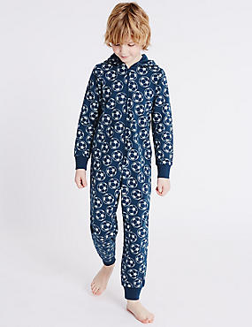Pure Cotton Football Print Onesie (1-16 Yrs), NAVY MIX, catlanding