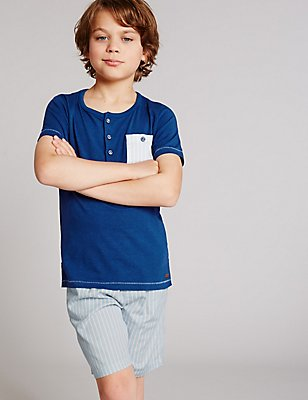 Short Sleeve Pyjamas (1-16 Years), MEDIUM BLUE MIX, catlanding