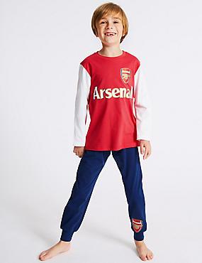 Pure Cotton Arsenal FC™ Pyjamas (3-16 Years), RED MIX, catlanding