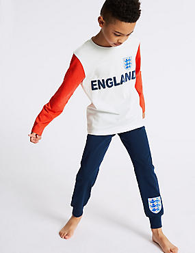 Pure Cotton England FA™ Pyjamas (3-16 Years), WHITE MIX, catlanding